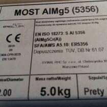 Hegesztőpálca AWI Alumínium MOST AlMg 5 (5356) 2,4x1000mm 5kg/darab