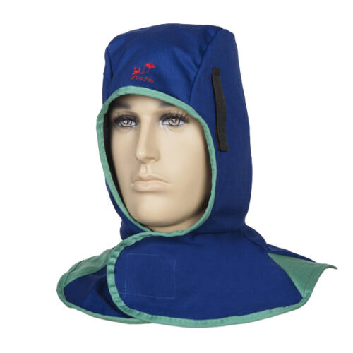 Fire Fox™ égésálló hegesztőmaszk, kék színben- Hozzákapcsolható a sisakhoz - Horgos és hurkos kapocs - 305 gr./m² lángálló pamut