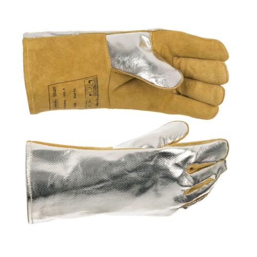 COMFOflex® béléses hegesztőkesztyű PFR alumíniummal bevont hátrésszel a sugárzó hő visszaverése érdekében, valamint hasított szarvasbőrből és tehénbőrből készült oldalrésszel - A-osztályú hasított marha oldal bőr - A kézrész teljesen COMFOflex® bélelésű é