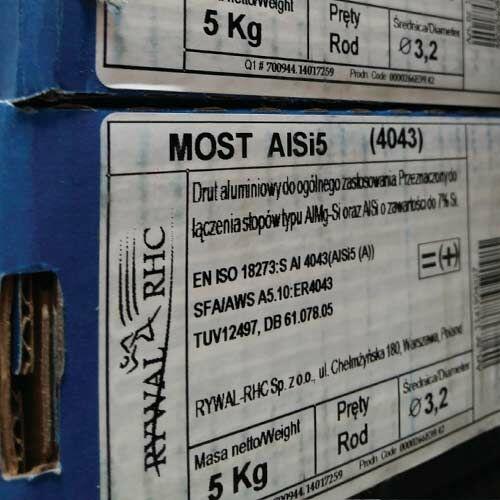 Hegesztőpálca AWI Alumínium MOST AlSi 5 (4043) 2,4x1000mm 5kg/darab