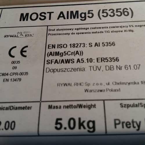 Hegesztőpálca AWI Alumínium MOST AlMg 5 (5356) 2,0x1000mm 5kg/darab